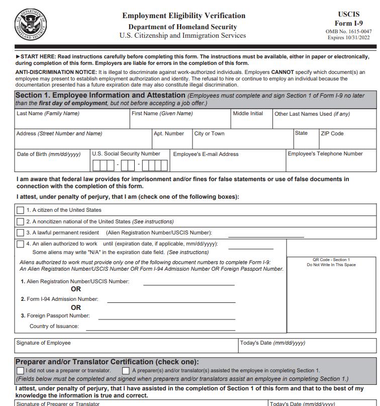 New I-9 Form